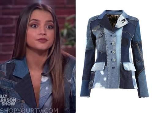 isabela merced, the kelly clarkson show, denim patchwork jacket