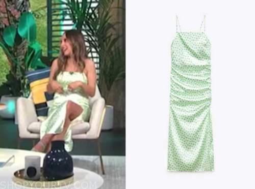 lilliana vazquez, E! news, daily pop, green satin floral dress
