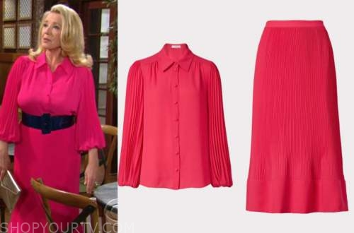 the young and the restless, nikki newman, melody thomas scott, hot pink pleated shirt and skirt