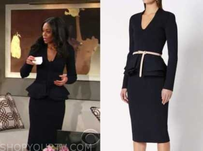 amanda sinclair, mishael morgan, navy blue peplum jacket and pencil skirt, the young and the restless