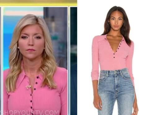 ainsley earhardt, fox and friends, pink polo knit top