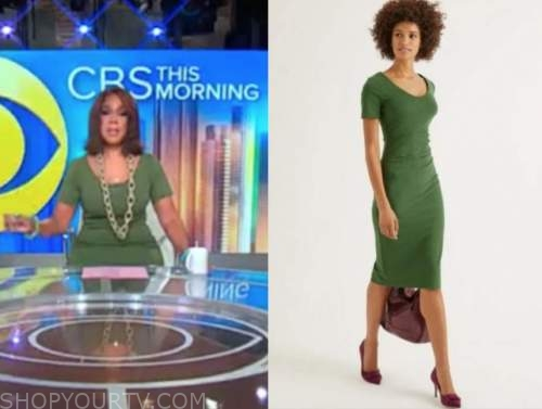 gayle king, green knit dress, cbs this morning