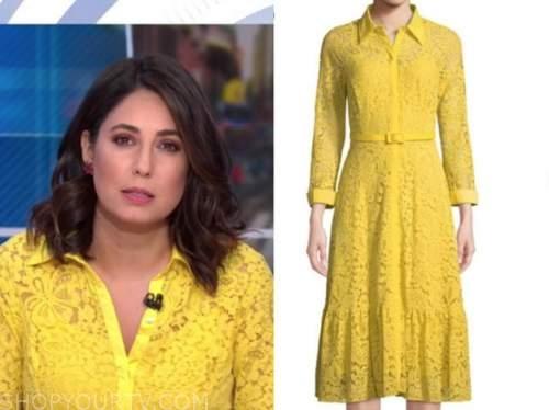 cecilia vega, good morning america, yellow lace shirt dress