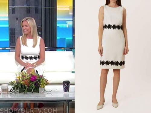ainsley earhardt, fox and friends, black and white floral dress