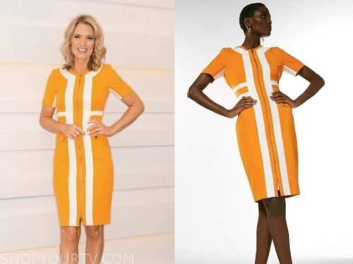 charlotte hawkins, good morning britain, orange and white dress