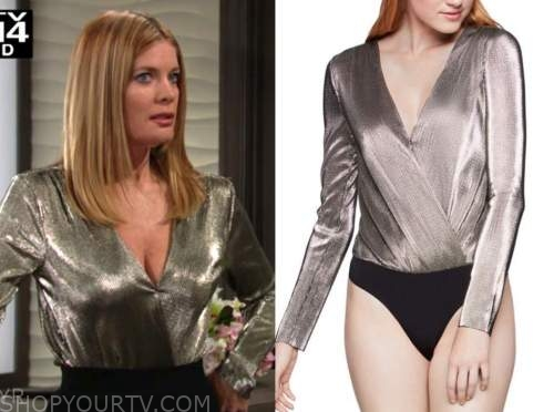 michelle stafford, the young and the restless, phyllis newman, gold metallic bodysuit top
