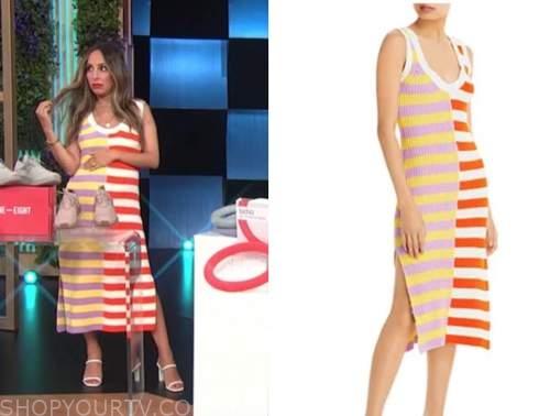 lilliana vazquez, E! news, daily pop, crochet knit striped midi dress