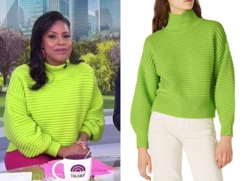 sheinelle jones, the today show, lime green sweater