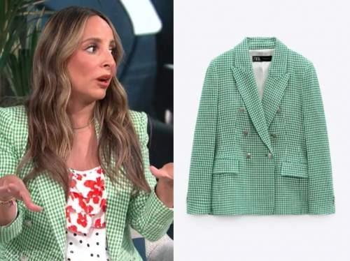 lilliana vazquez, E! news, daily pop, green gingham blazer