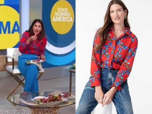 cecilia vega, good morning america, red and blue floral shirt