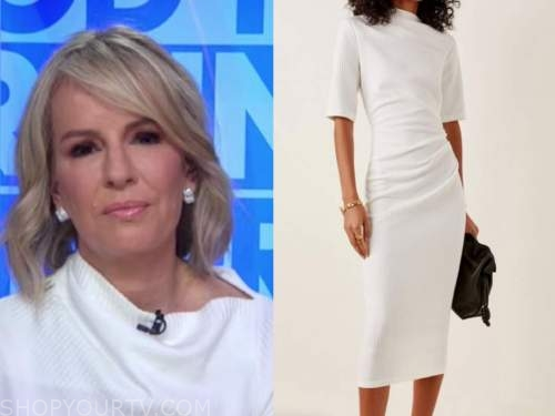 good morning america, dr. jennifer ashton, white asymmetric neck dress