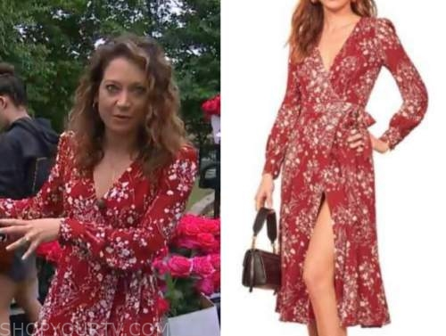 ginger zee, good morning america, red and white floral wrap dress