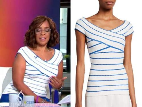 gayle king, cbs this morning, blue and white off-the-shoulder top