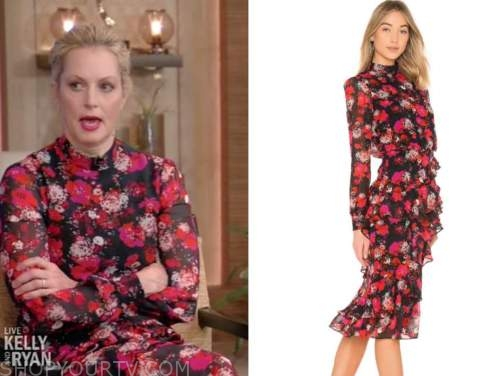 ali wentworth, live with kelly and ryan, black and red floral dress