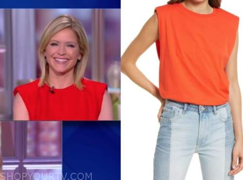 the view, red padded shoulder top, sara haines