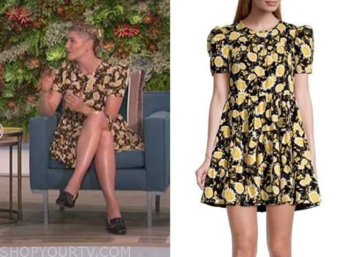amanda kloots, the talk, black and yellow floral dress