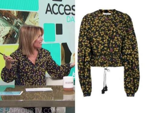 kit hoover, access daily, yellow and black floral blouse