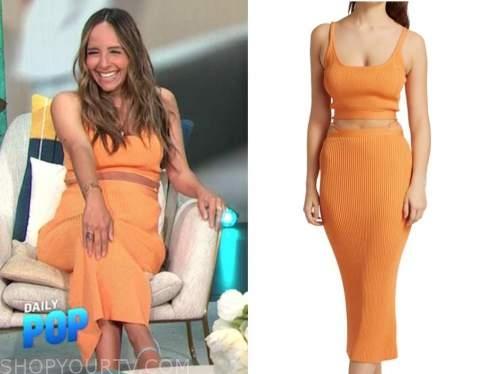lilliana vazquez, E! news, daily pop, orange ribbed knit crop top and skirt
