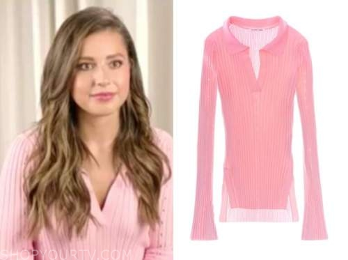katie thurston, E! news, daily pop, pink ribbed knit polo