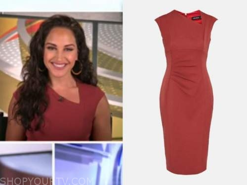 emily compagno, outnumbered, rust sheath dress