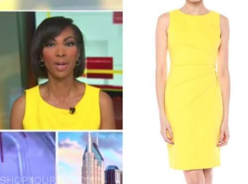 harris faulkner, outnumbered, yellow sheath dress