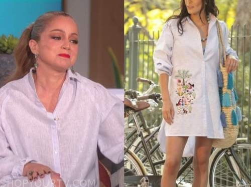 marcela Valladolid, the talk, embroidered shirt dress