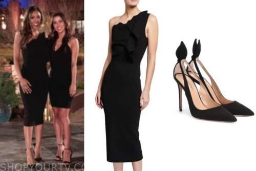 tayshia adams, the bachelorette, black one-shoulder dress, black heels