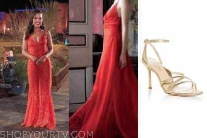 katie thurston, the bachelorette, night one fashion, coral orange dress, gold sandals