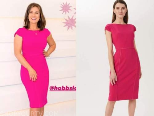 susanna reid, good morning britain, hot pink shift dress
