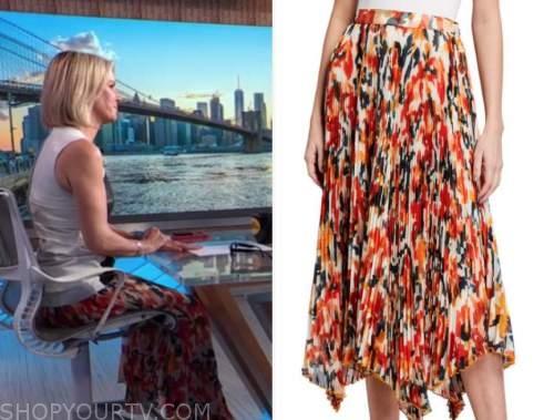 dr. jennifer ashton, good morning america, orange pleated printed midi skirt