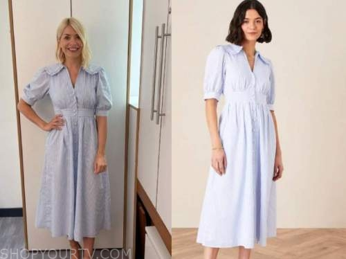 holly willoughby, this morning, blue striped collar shirt dress