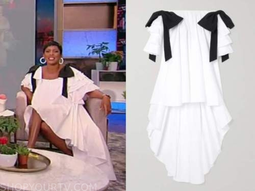 tamron hall, tamron hall show, white bow off-the-shoulder dress