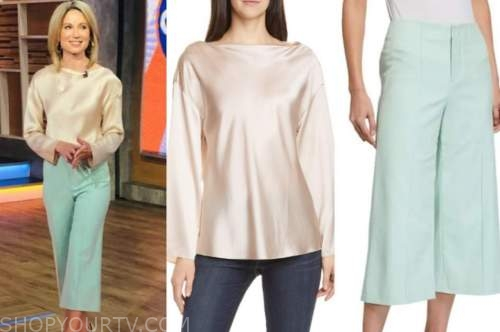amy robach, good morning america, satin top, blue cropped pants