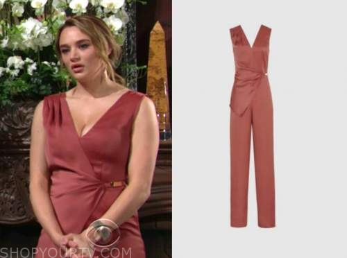 summer newman, hunter king, the young and the restless, rust wrap satin jumpsuit
