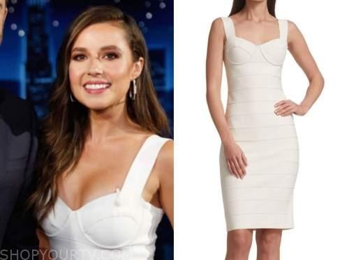 katie thurston, the bachelorette, jimmy kimmel live, white bandage dress