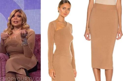 wendy williams, the wendy williams show, camel knit top and skirt