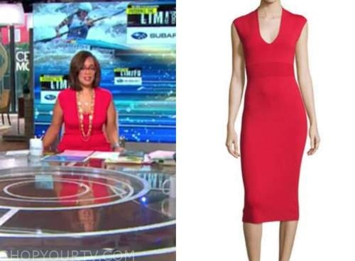 gayle king, cbs this morning, red knit dress