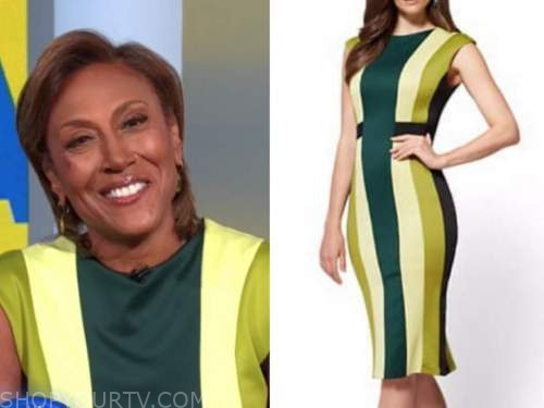good morning america, green striped dress, robin roberts
