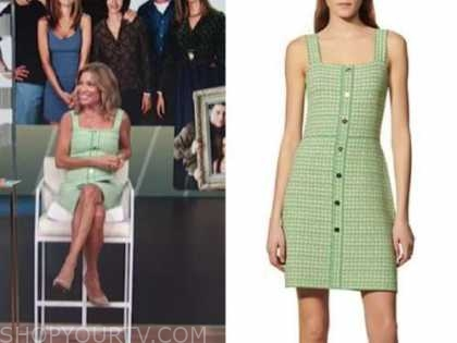 kit hoover, access daily, green tweed dress