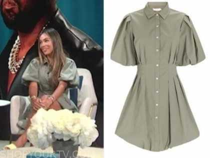 october gonzalez, E! news, daily pop, green shirt dress