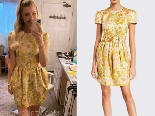 amanda kloots, the talk, yellow brocade belted dress
