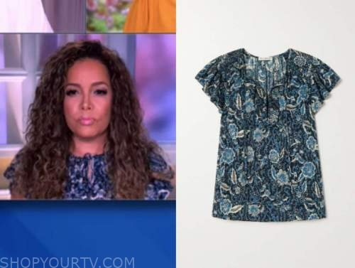 sunny hostin, the view, blue floral top