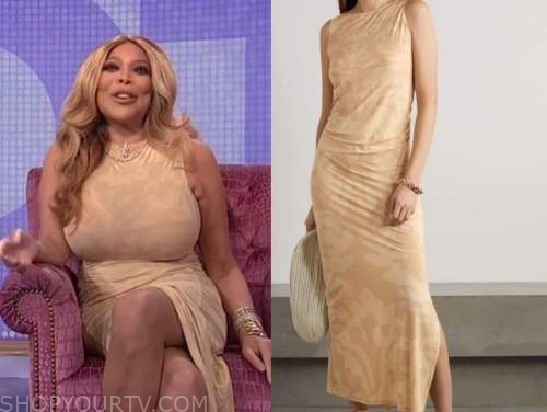 wendy williams, beige ruched maxi dress, the wendy williams show
