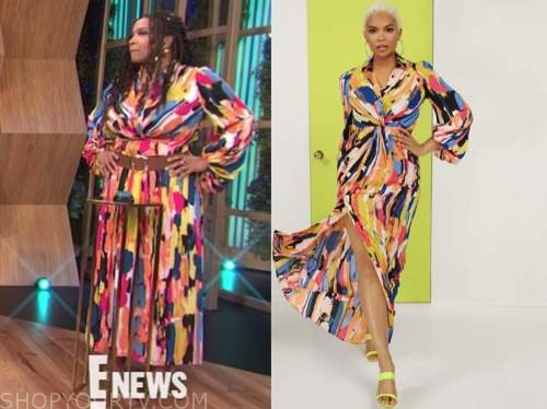 kym whitley, E! news, daily pop, multicolor printed maxi shirt dress