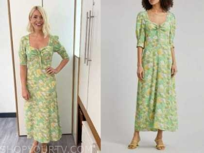 holly willoughby, green floral midi dress, this morning