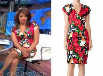 michelle miller, cbs this morning, floral sheath dress