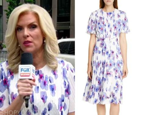janice dean, fox and friends, floral pleated dress