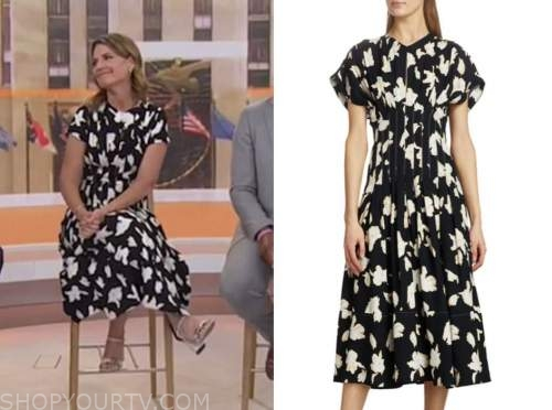savannah guthrie, the today show, black and white floral midi dress