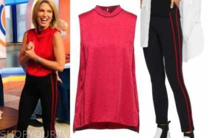 amy robach, good morning america, red top, black and red stripe pants