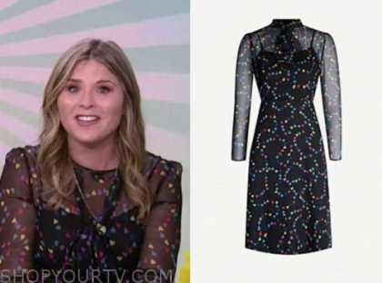 jenna bush hager, the today show, black heart print dress
